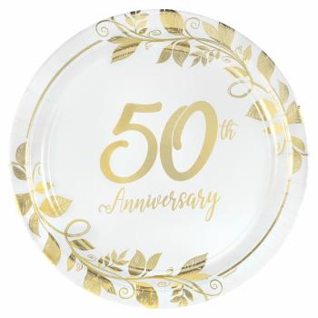 "Image de TABLEWARE - HAPPY 50th ANNIVERSARY 7"" METALLIC PLATES"
