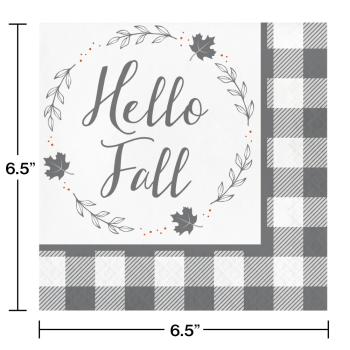 Picture of TABLEWARE - HELLO FALL - GRAY AND WHITE CHECK LUNCHEON NAPKINS