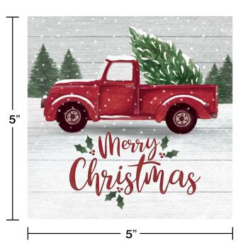 Image de TABLEWARE - FARMHOUSE CHRISTMAS BEVERAGE NAPKINS