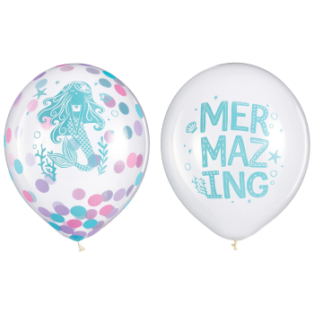 """Picture of 12"""" SHIMMERING MERMAIDS CONFETTI LATEX BALLOONS"""