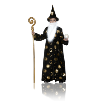 Picture of CAPE - WIZARD CAPE BLACK WITH HAT AND BEARD - LARGE - CHILD
