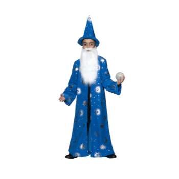 Picture of CAPE - WIZARD CAPE BLUE WITH HAT AND BEARD - LARGE - CHILD