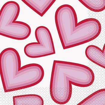Picture of TABLEWARE - RETRO VALENTINE HEARTS LUNCHEON NAPKINS