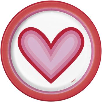 """Picture of TABLEWARE - RETRO VALENTINE HEARTS 7"""" PLATES"""